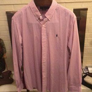 Polo long sleeve pink/blue plaid shirt. Like new